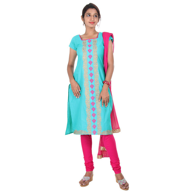 eSTYLe 3Piece Set-Ceramic Blue Floral Embroidered Cotton Kurta, Chudi & Dupatta