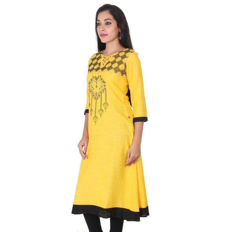 Spectra Yellow Boat Style Neck With Knot-Lace Work Slub Rayon Anarkali From eSTYLe