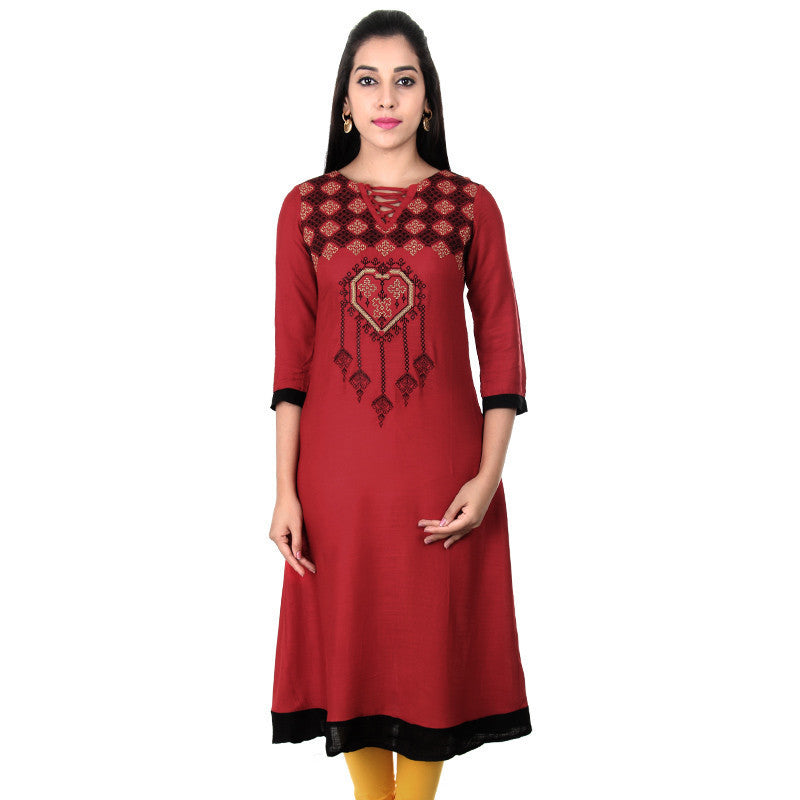 eSTYLe Ribbon Red Elegant Embroidered Slub Rayon Wide Flared Anarkali