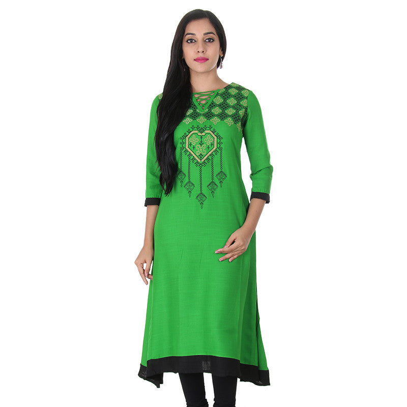 Fern Green &Amp; Contrast Bi Colour Embroidered...