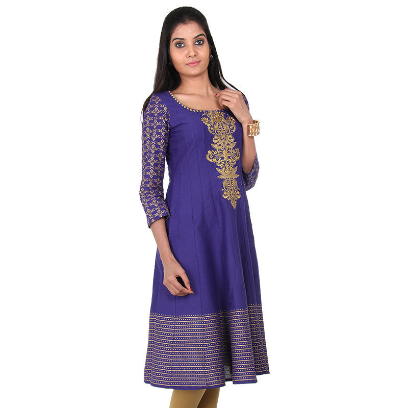Royal Blue Embroidered Yoke Anarkali From eSTYLe