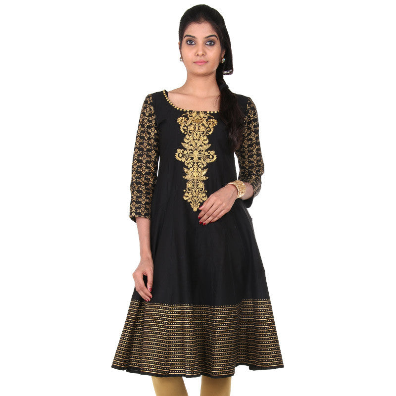 Pirate Black eSTYLe Anarkali - Printed 3/4th Sleeves