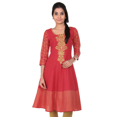 eSTYLe Teaberry Red Cotton Anarkali With Flared-Cut