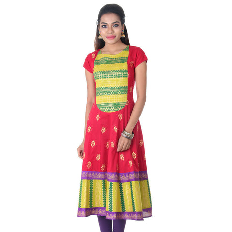 eSTYLe Cranberry Red Ethnic Charm Printed Anarkali With Short Sleeves