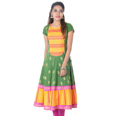 Hedge Green N' Contrast Printed Yoke Cotton Anarkali From eSTYLe