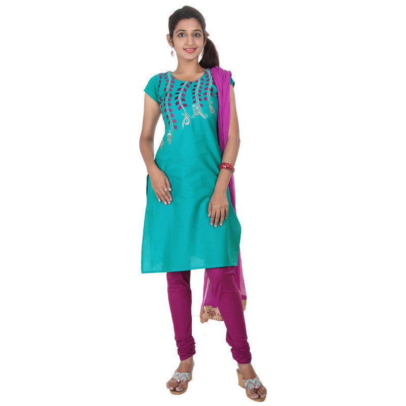 eSTYLe 3Pce Suit - Peacock Blue With Purple Portion Embroidery Cotton kurta, Salwar And Chiffon Duppatta
