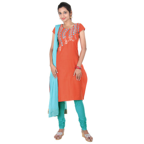 eSTYLe 3Pce Suit - Paprika Orange With Scuba Blue Embroidery Cotton kurta, Salwar And Chiffon Duppatta
