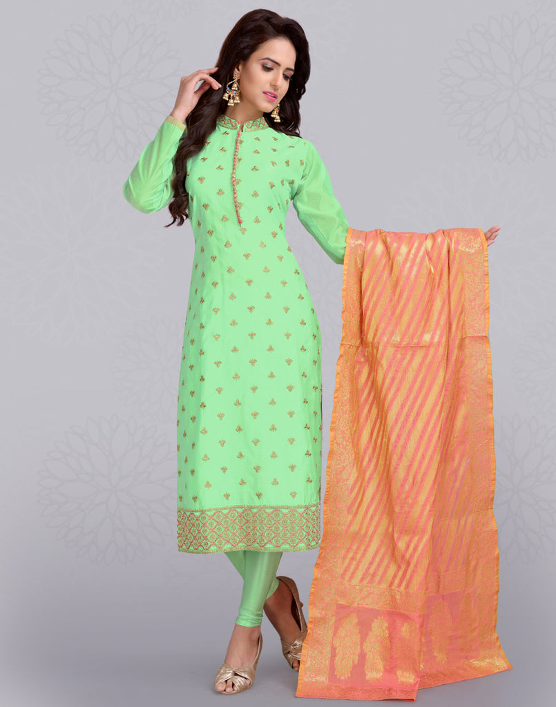 Green 'N' Orange Satin Silk Salwar Suit
