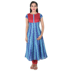 Tri Blues With Red Pin-Tuck Yoke Casual Cotton Anarkali From eSTYLe