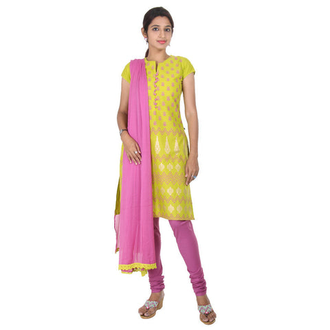 Apple Green With Violet Elegant Prints 3-Piece Salwar Suit From eSTYLe