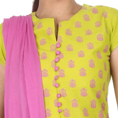 Apple Green With Violet Elegant Prints Straight Cut Kurta
