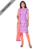 Deep Lavender With Peach Pink Charm Prints Straight Cut Kurta