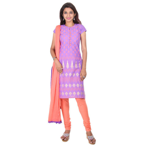 eSTYLe Deep Lavender With Peach Pink Charm Prints 3-Piece Salwar Suit