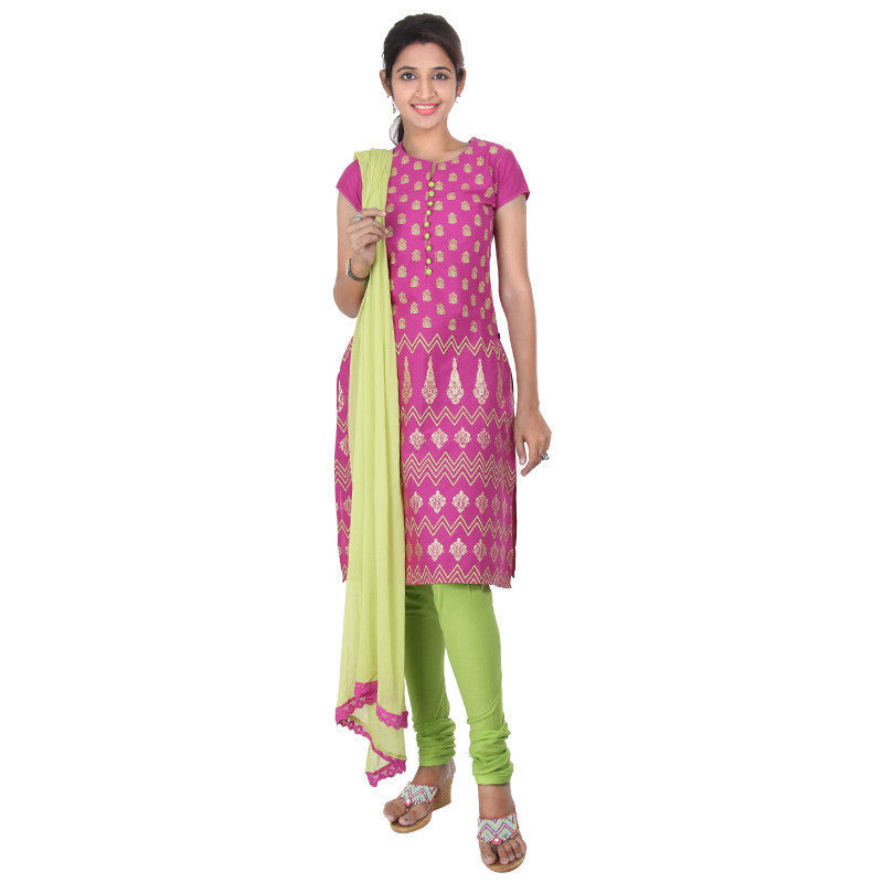 Magenta With Light Green Fabric Button With Concealed Placket eSTYLe 3-Piece Suit