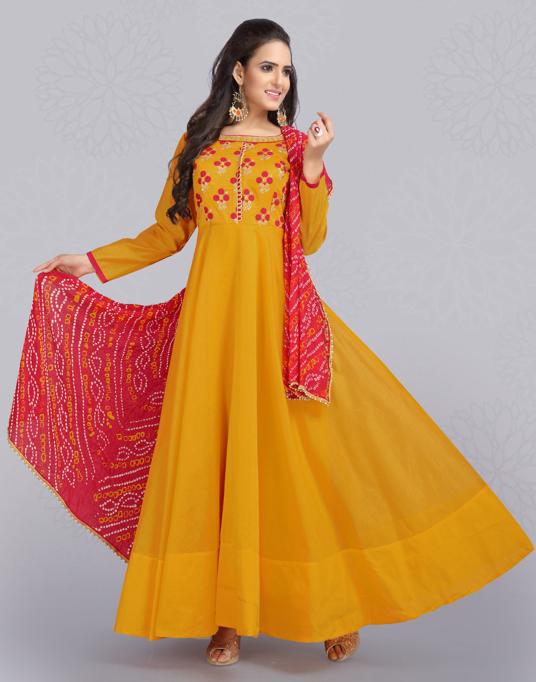 Mustard 'N' Red Silk Cotton Anarkali Salwar Suit