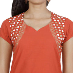 Paprika Red Ethnic Motifs Pure Cotton Kurta From eSTYLe
