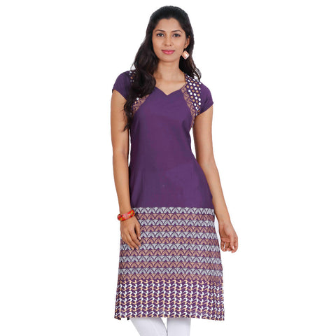 eSTYLe Purple Grape Queen Anne Neckline Printed Kurta
