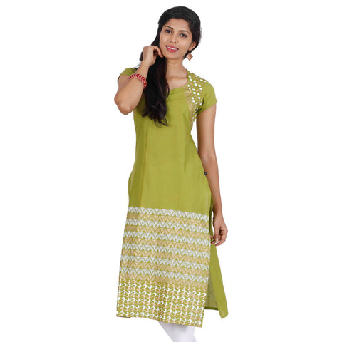 Moss Green Ethnic Motifs Straight-Cut Kurta From eSTYLe
