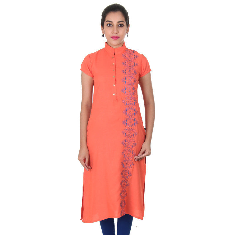 Living Coral Orange Buttoned Placket Pure Rayon Kurta From eSTYLe