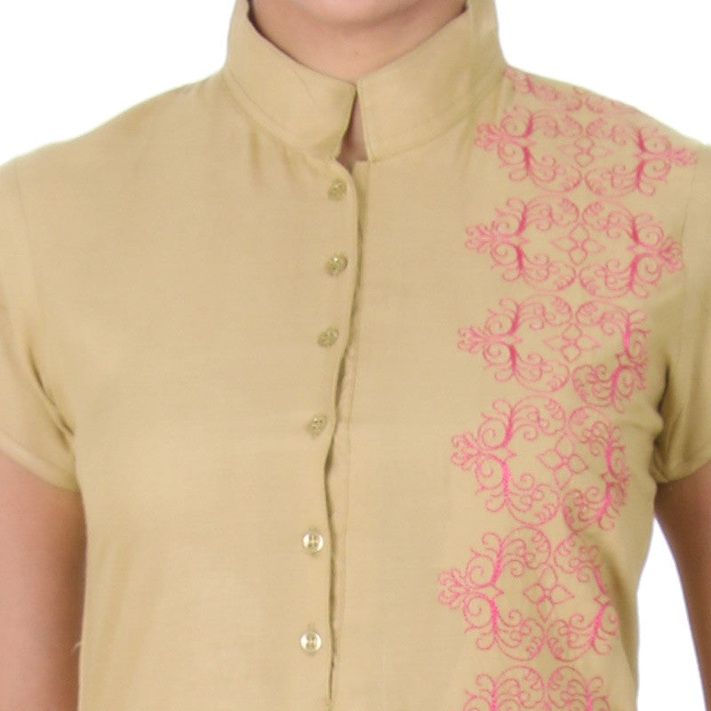eSTYLe Croissant Beige With Contrast Pink Embroidered Pure Rayon Kurta