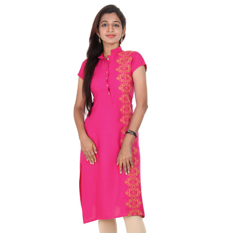 Beetroot Purple With Yellow Embroidered Side Panels Rayon Kurta From eSTYLe