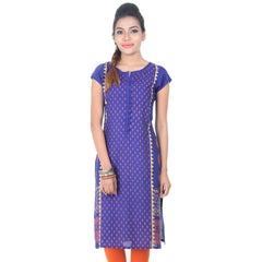 eSTYLe Royal Blue Boat Neck With Open Placket Rayon Kurta