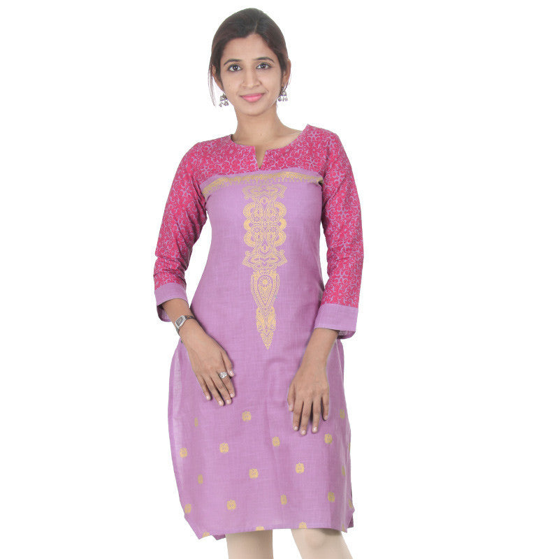 Sheer Lilac Purple Ethnic Motif Prints Casual...