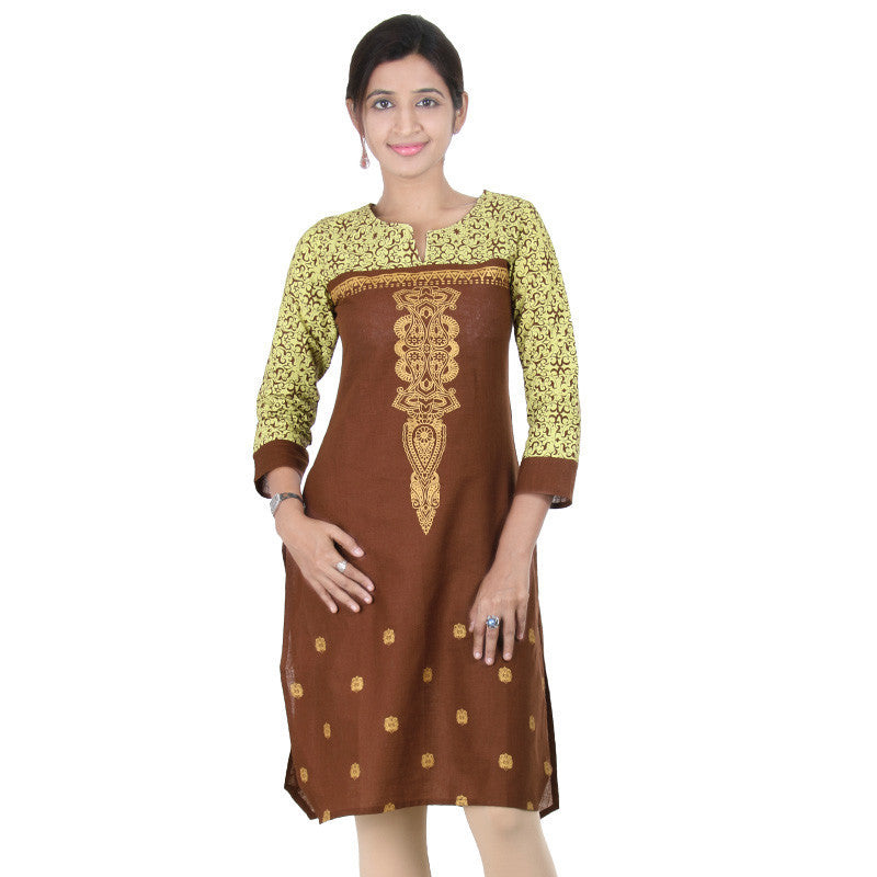 E Sty Le Rustic Brown Ethnic Pattern Prints...