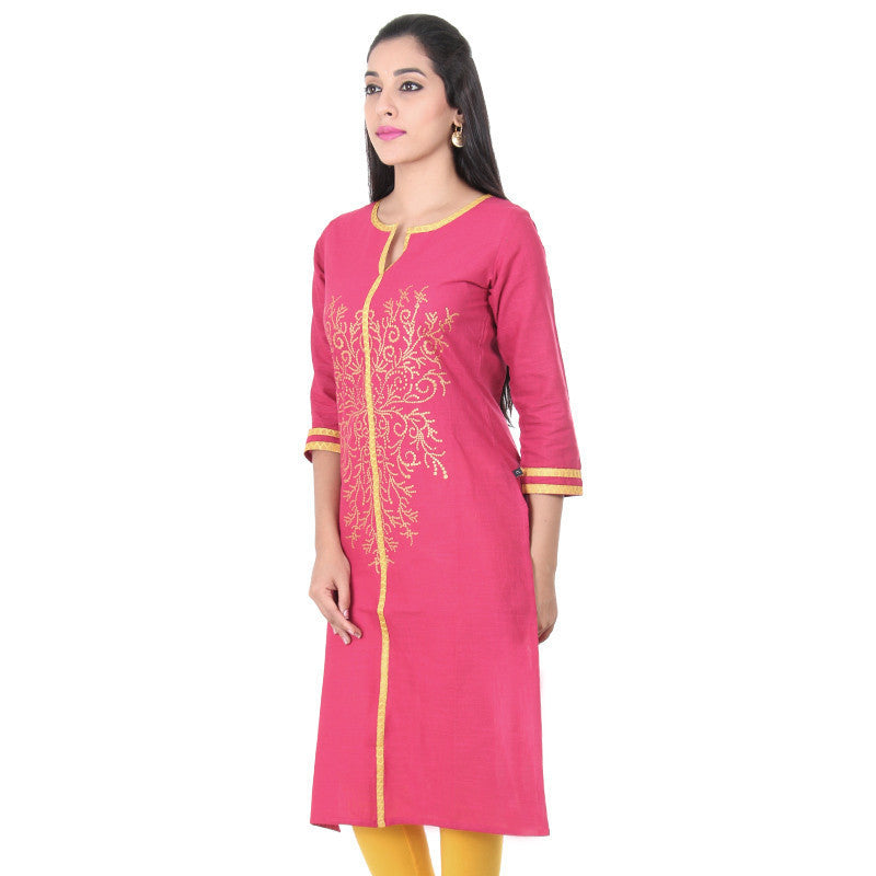 eSTYLe Raspberry Wine Red Three-Quarter Sleeves Pure Cotton Ethnic Style Kurta