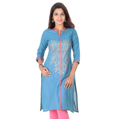 Blue Moon Golden Floral Prints Pure Cotton Charming Kurta From eSTYLe
