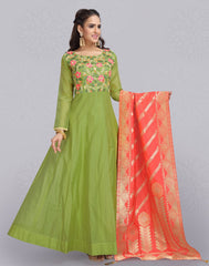 Green Silk Cotton Anarkali Salwar Suit