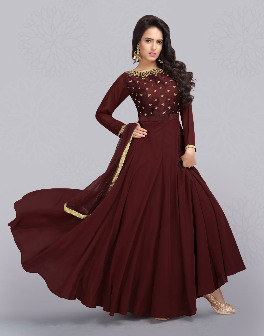 Tango Red Georgette Anarkali Salwar Suit
