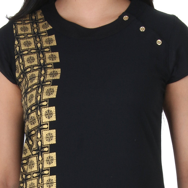 Jet Black With Golden Side Panel Prints Pure Rayon Kurta From eSTYLe