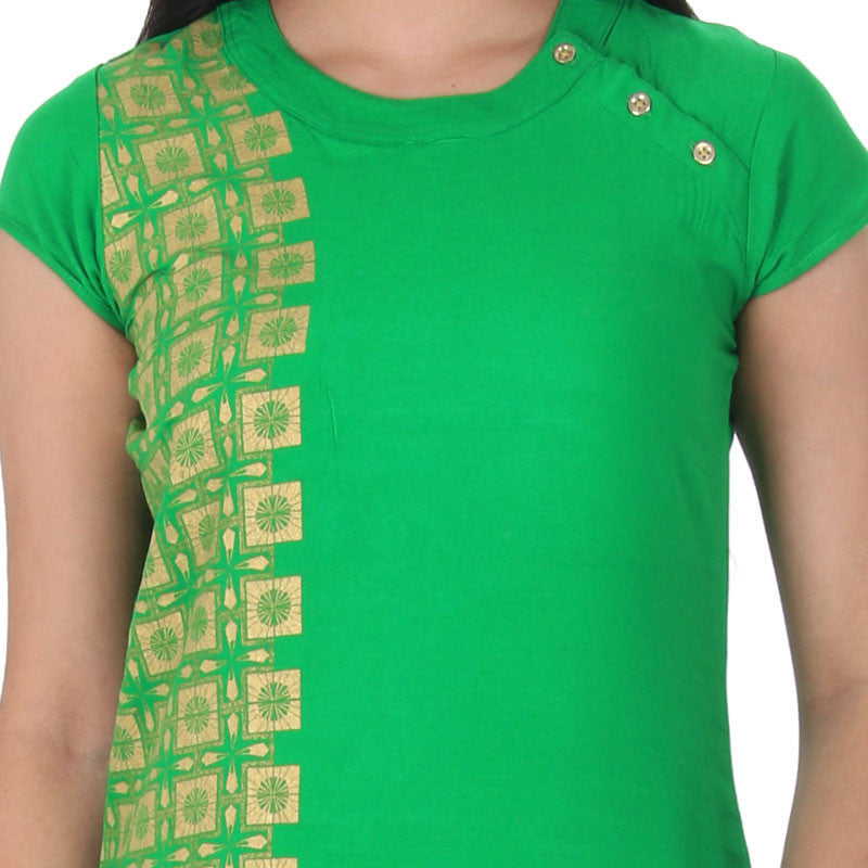 eSTYLe Bright Green Round Neck With Stylish Side Buttoned Placket Pure Rayon Kurta