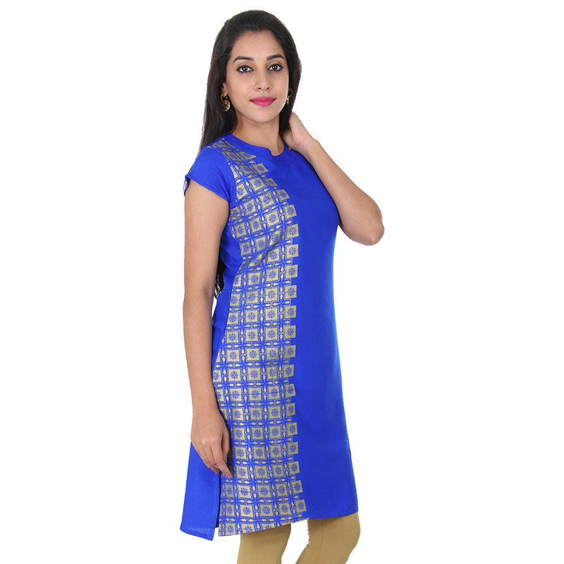 Royal Blue With Golden Side Panel Prints Pure Rayon Kurta From eSTYLe