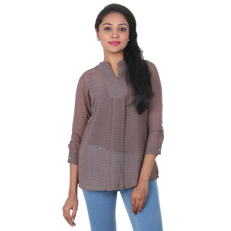 Iron Grey Stand Collar With V Open Placket...