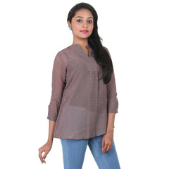 Iron Grey Stand Collar With V-Open Placket Casual Top From eSTYLe