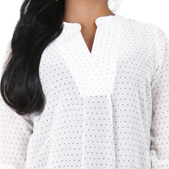 eSTYLe Pristine White With Black Dot Prints Polyster Modern Top