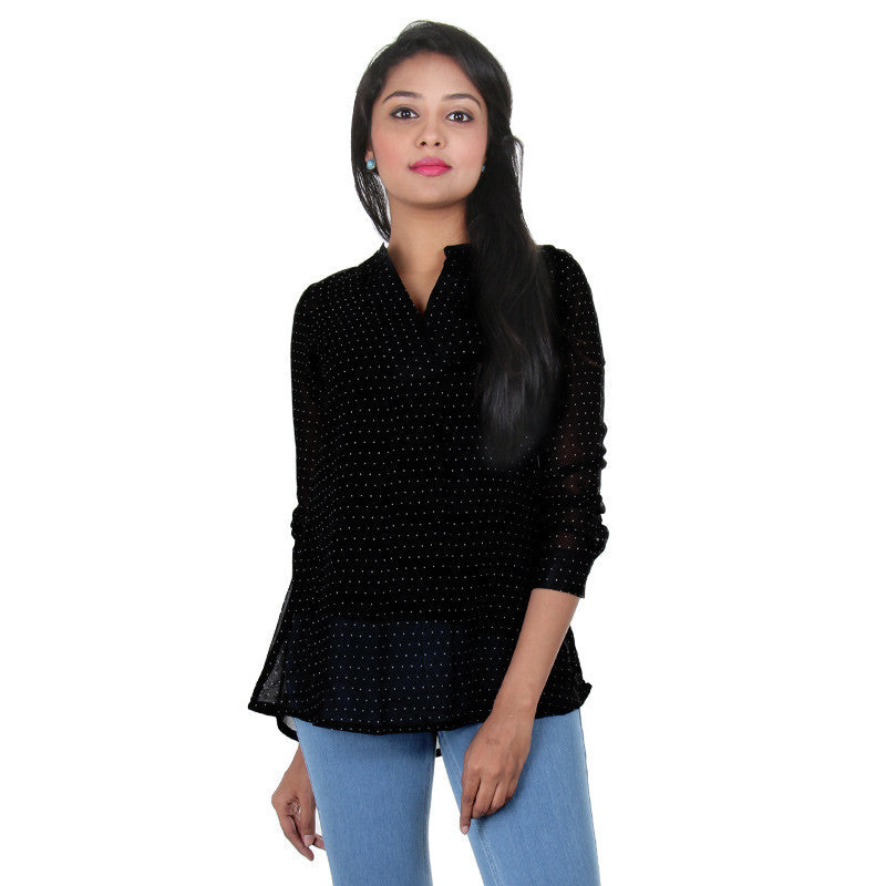 Caviar Black With White Dots Print Top From E...