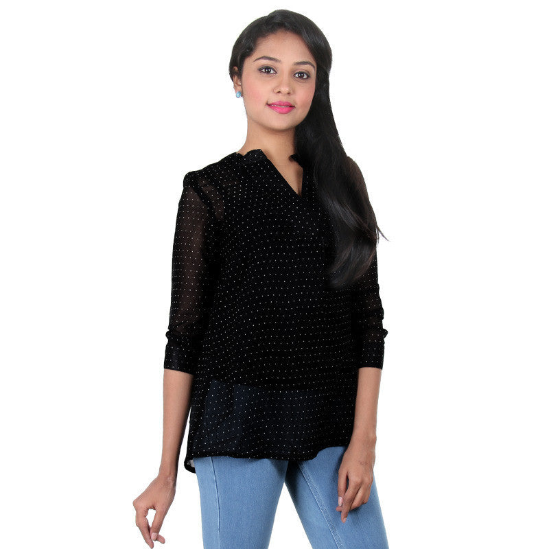 Caviar Black With White Dots Print Top From eSTYLe