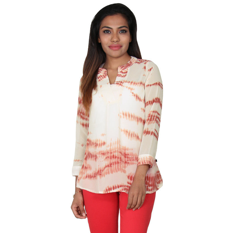 eSTYLe Ice Cream Peach Casual Top-Stand Collar With V-Open Placket