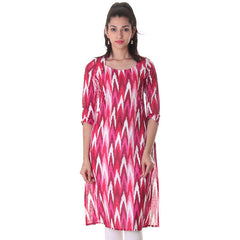 eSTYLe Pink With Multi Colour Printed Design Cotton Kurta