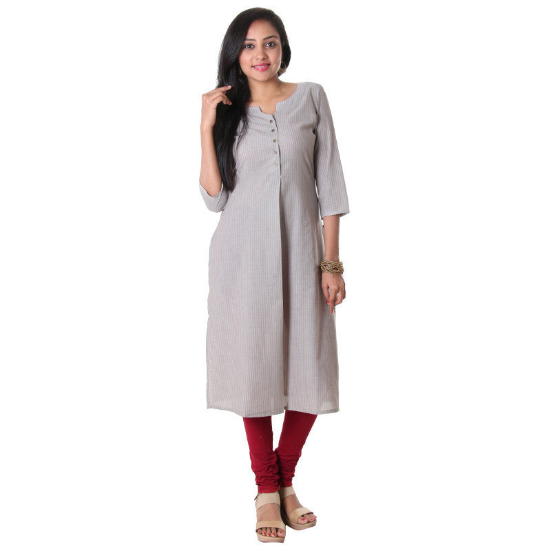 Pumice Stone Pleasant Placket With A Pleated Slit Cotton Stripes Kurta From eSTYLe