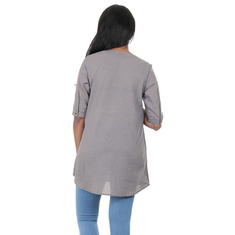CloudBurst Grey Colour Open Placket With A Slit Style Top From eSTYLe