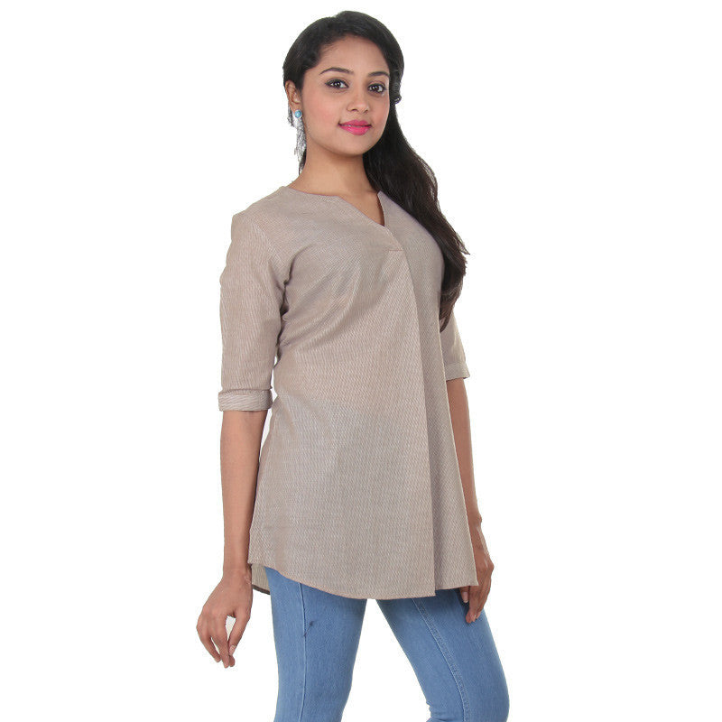 eSTYLe Sesame Grey Mix With White Stripes Print Design Stylish Top