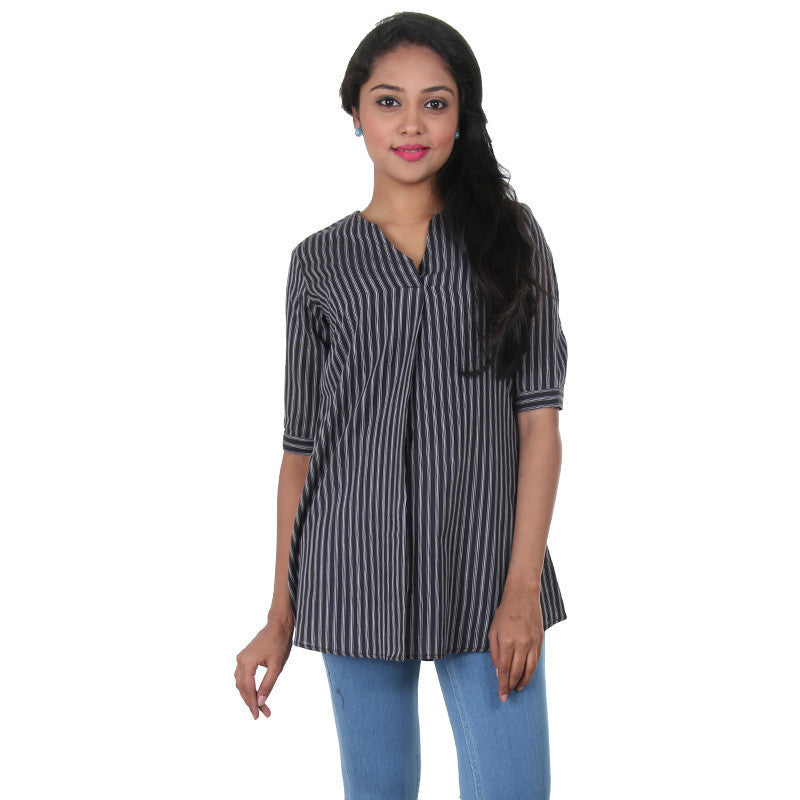 Jet Black Mix & Matching With White Stripes Print Pure Cotton Top From eSTYLe