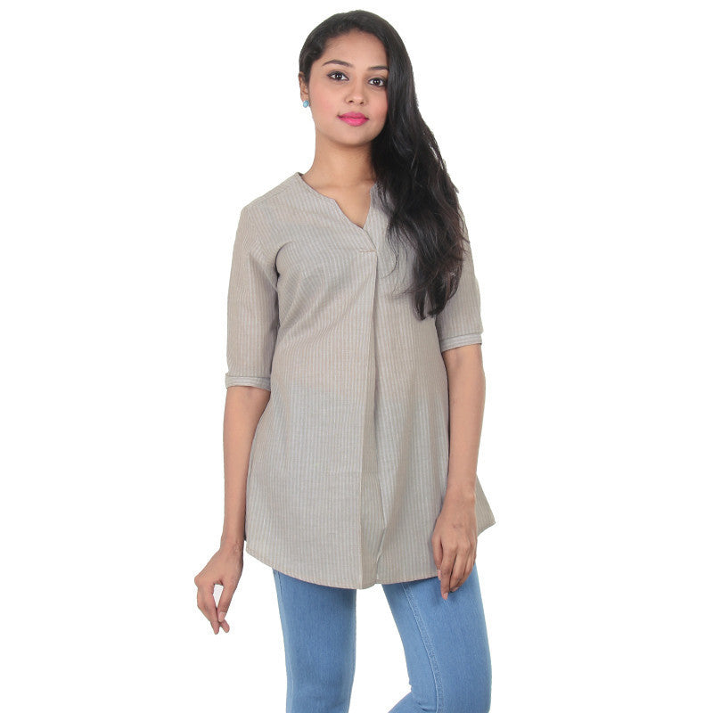 eSTYLe CobbleStone Grey Vertical Stripes Print Design Pure Cotton Top