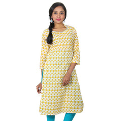 Snow White With Golden Rod Yellow Colour Combination Slub-Cotton Ethnic Kurta From eSTYLe