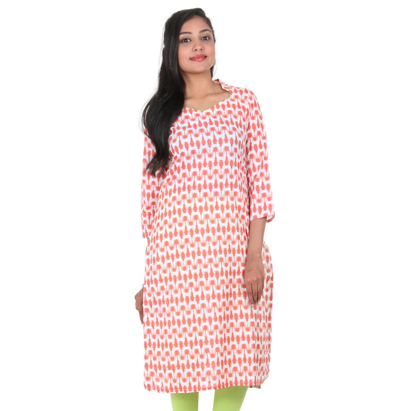 eSTYLe Bright White & Burnt Sienna Colour Printed Design Slub-Cotton Kurta