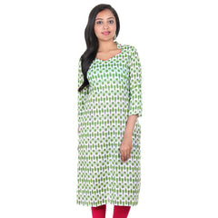 Piquant Green Three-Quarter Sleeves & Stand Collar With Contrast Piping V-Neck Kurta From eSTYLe